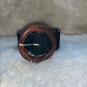 Free People Black and Brown Leather Belt S/M